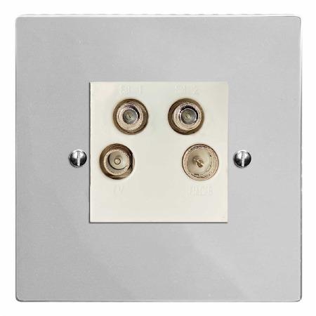 Victorian Quadplex TV Socket Polished Chrome & White Trim