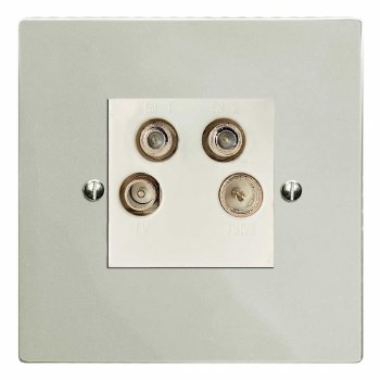 Victorian Quadplex TV Socket Polished Nickel