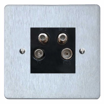 Victorian Quadplex TV Socket Satin Chrome & Black Trim