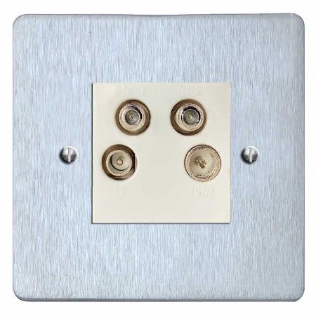 Victorian Quadplex TV Socket Satin Chrome & White Trim