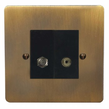Victorian Satellite & TV Socket Outlet Antique Brass Lacquered