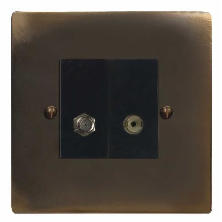 Victorian Satellite & TV Socket Outlet Dark Antique Relief
