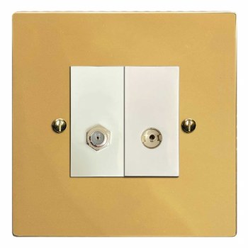 Victorian Satellite & TV Socket Outlet Polished Brass Lacquered & White Trim