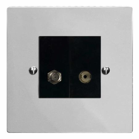 Victorian Satellite & TV Socket Outlet Polished Chrome & Black Trim