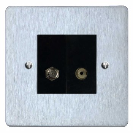 Victorian Satellite & TV Socket Outlet Satin Chrome & Black Trim