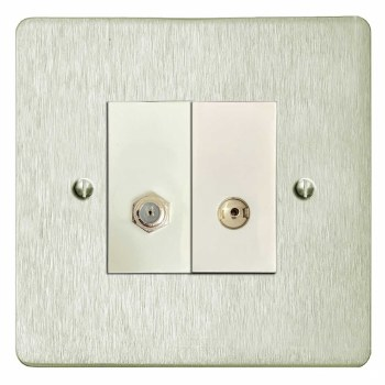 Victorian Satellite & TV Socket Outlet Satin Nickel