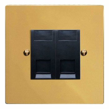 Victorian Telephone Socket Secondary 2 Gang Polished Brass Lacquered & Black Trim