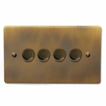 Victorian Dimmer Switch 4 Gang Antique Brass Lacquered