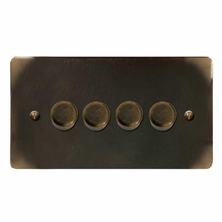 Victorian Dimmer Switch 4 Gang Dark Antique Relief