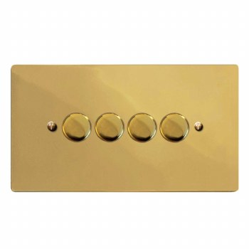 Victorian Dimmer Switch 4 Gang Polished Brass Lacquered