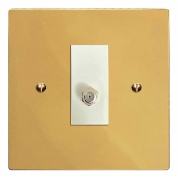 Victorian Satellite Socket Polished Brass Lacquered & White Trim