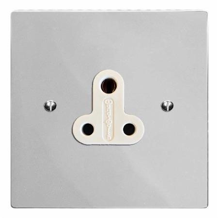 Victorian Lighting Socket Round Pin 5A Polished Chrome & White Trim