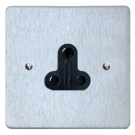 Victorian Lighting Socket Round Pin 5A Satin Chrome & Black Trim