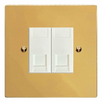 Victorian RJ45 Socket 2 Gang CAT 5 Polished Brass Lacquered & White Trim