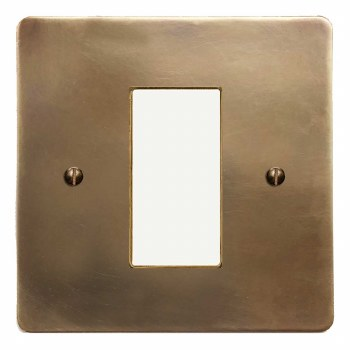 Victorian Plate for Modular Electrical Components 50x25mm Hand Aged Brass
