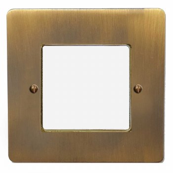 Victorian Plate for Modular Electrical Components 50x50mm Antique Brass Lacquered