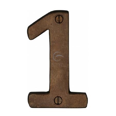 Heritage Numerals 1 RBL351 Solid Rustic Bronze