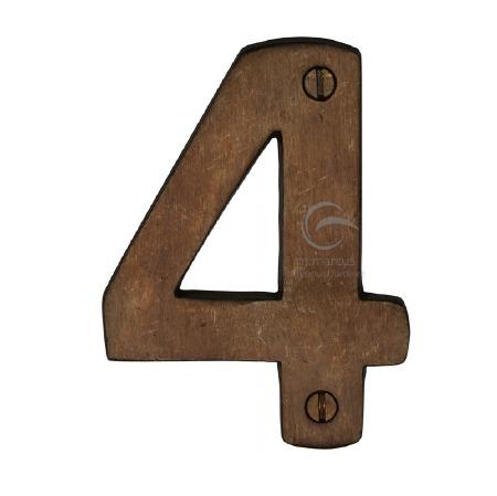 Heritage Numerals 4 RBL351 Solid Rustic Bronze