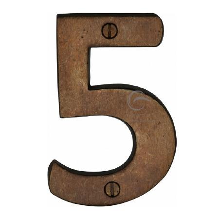 Heritage Numerals 5 RBL351 Solid Rustic Bronze