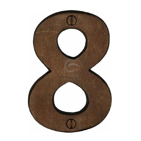 Heritage Numerals 8 RBL351 Solid Rustic Bronze