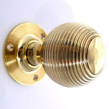 Aston Reeded Ball Door Knobs Polished Brass Unlacquered 55mm