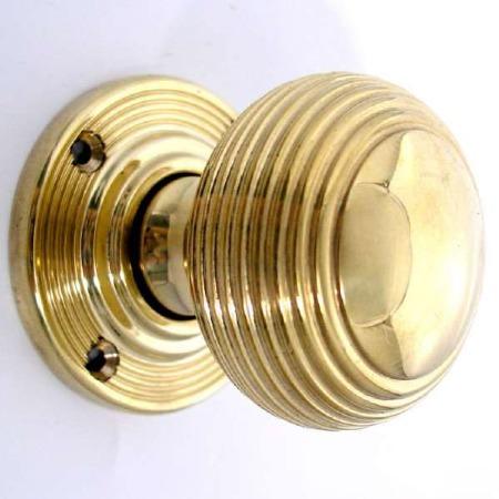Aston Reeded Bun Door Knobs Polished Brass Unlacquered 44mm