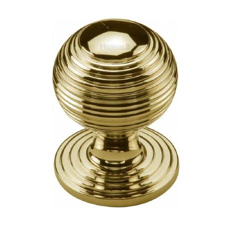Heritage Reeded Cabinet Knob V973 32 Polished Brass