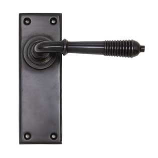 From The Anvil Reeded Lever Latch Set Aged Bronze