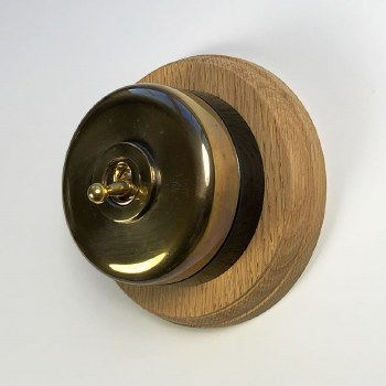 Round Dolly Light Switch & Circular Oak Base Renovated Brass & Black Mount