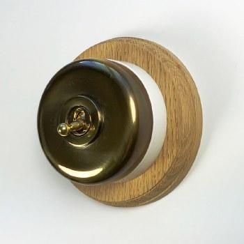 Round Dolly Light Switch & Circular Oak Base Renovated Brass & White Mount
