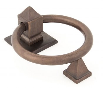 From The Anvil Ring Door Knocker Aged Bronze