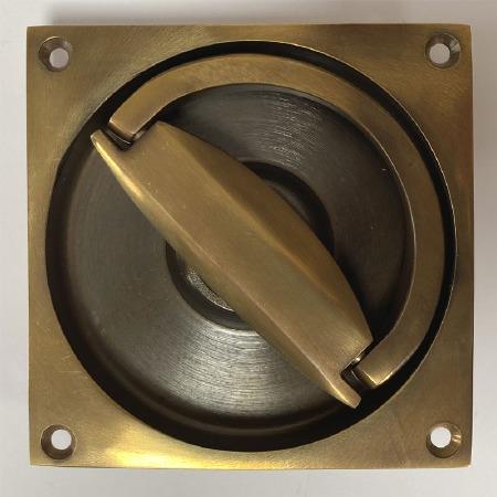 Aston Flush Ring Handle 90mm Antique Brass Unlacquered