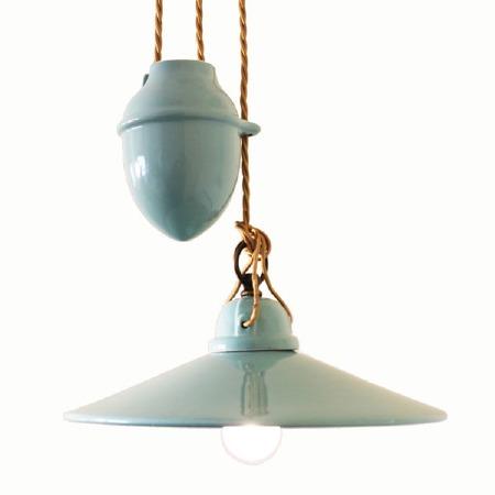 Italian Ceramic Rise & Fall Light Azzurro Piccolo