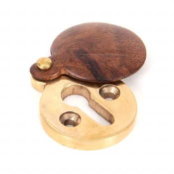 From The Anvil Round Covered Escutcheon Brass & Rosewood