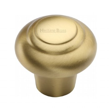 Heritage Round Knob C3985 32mm Satin Brass