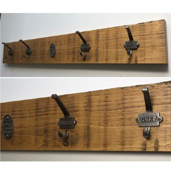 Rustic Pine Hook Board Railway Mania 4 Hook 100cm