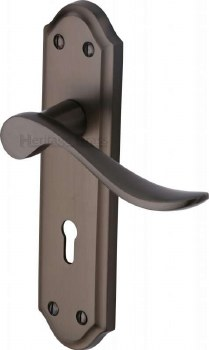 Heritage Sandown Door Lock Handles SAN1400 Matt Bronze