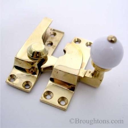 Croft Sash Fastener Polished Brass Unlacquered White Knob