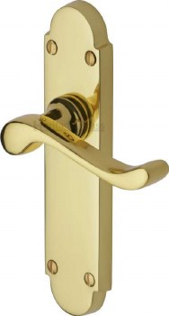 Heritage Savoy S610 Door Handles Polished Brass Lacquered