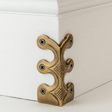 Skiffer Skirting Board Corner Protector Antique Brass 75mm