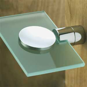Samuel Heath N5034 Soap Dish with Frosted Glass Polished Chrome