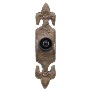 Fleur-de-Lys Bronze Door Bell Push