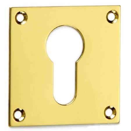 Croft Square Escutcheon 4577 Euro Profile Polished Brass Unlacquered