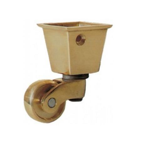 Square Socket Castor 22mm Polished Brass Set of 4