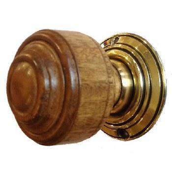St Pauls Wooden Mortice/Rim Door Knobs Oak & Brass
