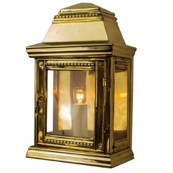 Stable Flush Outdoor Wall Light Polished Brass Unlacquered