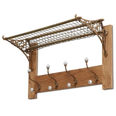 Railway Storage Rack & Hook Board Brass on Oak or Pine