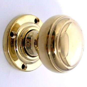 Aston Stepped Bun Door Knobs Polished Brass Unlacquered 44mm