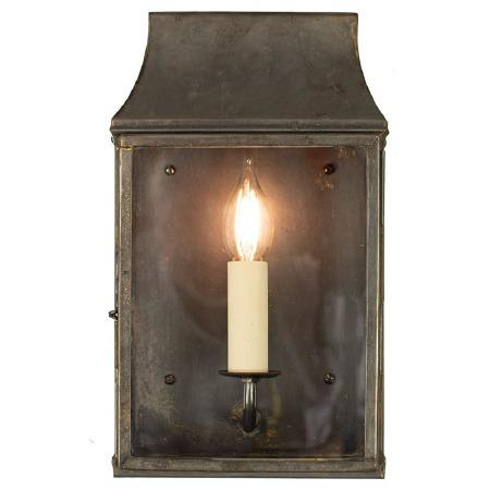 Strathmore Flush Outdoor Wall Lantern Small Antique Brass