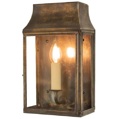 Strathmore Flush Outdoor Wall Lantern Small Light Antique Brass